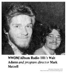 1978 WWOM Walt Adams, Mark Matzell (albany group archive) Tags: albany ny metroland 1978 wwom walt adams mark matzell old vintage photos picture 1970s photo photograph history historic historical