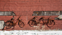 Two Bicycles (Me in ME) Tags: maine westbath bicycles rusty crusty snow shadows
