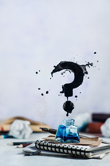 Spilled ink flying above inkwell in a splash in form of a question mark on a light background. Still life with writer workplace. Creative writing concept. Dynamic shot with frozen motion. (Dina Belenko) Tags: art blank classic complicated concept conceptual copywriting creative creativeblock desk drawing drop education error flying frustration ideas imagination ink inkwell levitation literature magic mess metaphor mistake nib nopeople notebook notepad object office paper pen pencil poetry spilled spiral stationary stilllife story study tablet text unpolished white workplace write writing