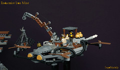 12_Endarmire_Iron_Mine (LegoMathijs) Tags: lego moc legomathijs steampunk mine miners mining rocks iron ore steampowered drones tracked driller flying discovery vehicle explorer speeder transporter transport airship clockwork drone speeders walking steamcopters pickaxe tools crates shaft cranes workshop gears cave docks