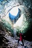 Spectacular Ice Cave! (Monica@Boston) Tags: icefall glacier red photographer hiking people colors icecave iceland sky water rock
