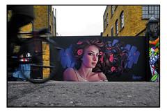 STREET ART by IRONY (StockCarPete) Tags: irony camdenart streetart graffiti female women flowers gate urbanart lowpov london uk bike