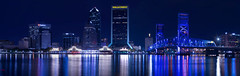 Been a while since I posted anything. I got this on a trip back home.  Four shot panorama of the downtown Jacksonville skyline. (+Lonnie & Lou+) Tags: jacksonville travel longexposure florida urban skyline architecture panorama night spring sony