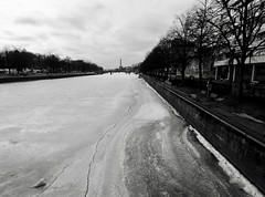 (docwiththecamera) Tags: sky cloud black white river frozen ice tree windmill bridge bw