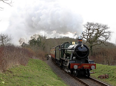 6960 Raveningham Hall - Nornvis crossing (Andrew Edkins) Tags: greatwestern gwr 6960 raveninghamhall hallclass nornviscrossing westsomersetrailway preservedrailway railwayphotography travel trip uksteam geotagged canon light footcrossing passenger march spring 2018 trees