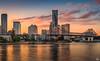 Brisbane City Sunset (mark.iommi) Tags: newfarm queensland australia au brisbane storybridge brisbaneriver sunset dusk cityscape reflections goldenhour goldenlight