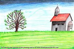 Church Landscape (drawingtutorials101.com) Tags: church landscape churches landscapes scenes sketching sketch sketches draw drawing drawings pencil speeddrawing color colors coloring how pencils speed