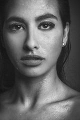 Niema (aminefassi) Tags: wet wetlook water portrait people beauty mode fashion blackandwhite studio flash droplet closeup