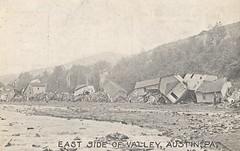 The Austin Dam Disaster, 1911 - East Side of Valley - Austin, Pennsylvania (The Cardboard America Archives) Tags: vintage postcard cityinruins disaster pennsylvania flood 1911