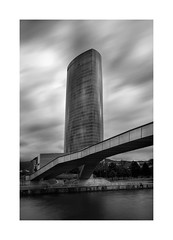 Torre Iberdrola (Bilbao) (protsalke) Tags: architecture monochrome building sky clouds longexposure city urban cityscape bilbao byn blackandwhite towers composition