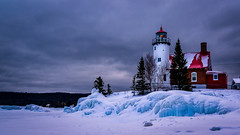 Eagle Harbor Lighthouse (Paul Domsten) Tags: eagleharborlighthouse lighthouse snow pentax upperpeninsulamichigan winter lakesuperior greatlakes michigan keweenawcounty ice trees clouds