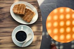 Kopi and Toast at Geylang Bahru Hawker Centre (Jon Siegel) Tags: nikon nikkor d750 50mm 12 50mmf12ais 50mmf12 50mm12 5012 toast butter kaya breakfast coffee kopi kayabuttertoast kopiokosong tabletop outdoors singapore singaporean food dining culture