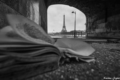 Open book (karmajigme) Tags: book pages livre leaves feuilles eiffeltower paris toureiffel bridge pont monochrome blackandwhite monument noiretblanc city ville bw travel nikon