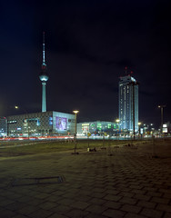 Berlin, Germany. (wojszyca) Tags: intrepid camera 4x5 largeformat fujinon sw 90mm kodak portra 400 epson v800 night longexposure city urban berlin architecture tower socialist modernism alexanderplatz