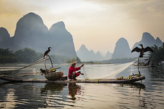 Cormorant Fisherman (lc99photography) Tags: cormorant cormorantfisherman cormorantfishing fishing bambooraft raft karst karstformation landscape travel nature china yuanshuo guilin lijiang liriver river man oldman old water reflections birds wildlife mountains