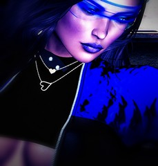 Blue Light (Carla Putnam) Tags: woman model black blue nerido cae shumesh glasses hologlasses holovisor