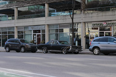 Ready To Bolt (Flint Foto Factory) Tags: chicago suburb evanston illinois suburban college town late winter march 2018 saturday afternoon 1967 pontiac gto muscle car black generalmotors gm 2door pillared coupe poncho store front traffic parallel parking parked street gnc boltwood abody intermediate midsize platform threequarter view salon lotus 804 davisst sherman intersection
