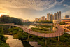 Pang Sua Dawn (Scintt) Tags: singapore 1424mm nikon d850 pond lake reservoir water reflection landscape dramatic surreal epic beautiful nature bridge boardwalk walkway morning early dawn sunrise sun sky clouds natural travel wideangle bukitpanjang golden yellow orange colours urban cityscape city hdb housing estate residential park property scintillation scintt jonchiangphotography