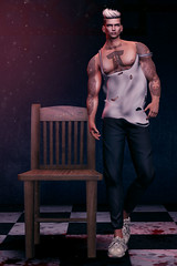 I'm not alone the sky is criying with me (Satuex Resident) Tags: rebel white tank pants trainers sneakers pose backdrop man cave event fli wrong ultra thebeardedguy anime tokyo ghoul satuex angel king second life mesh avatar bento secondlife sl fashion amle guy gay dude men