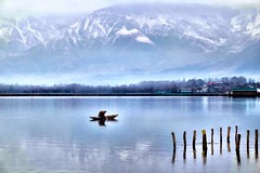 Dal Lake - A Winter Landscape (Photo Paint) (pallab seth) Tags: dallake lake kashmir srinagar india nature winter cold landscape boat fishermen charchinar charchinari ropalank rupalank vehicle travel adventure tour tourism boatman fisherman shikara photopaint painting topaz photopainting corelpaintshopprox6ultimate