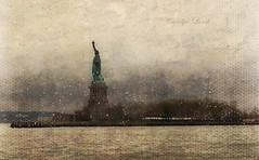 New York State of Mind (socalgal_64) Tags: carolynlandi liberty freedom monument statue harbor nyharbor ladyliberty nyc newyork newyorkcity usa statueofliberty rain raining dreary cloudy winter water ocean sea landscape libertyisland history historicalsite tourism tourist raindrops texture cold patriotic fog foggy atmosphere texturebybefunky befunky