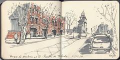 Parque Bomberos n3  Puerta de Toledo (f.gómezcorisco) Tags: dibujo rotulador madrid castejao urbansketchers apunte cuaderno boceto arquitectura sketchingmadrid