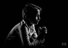Praying - B&W version (Nicobert.com) Tags: france portrait wacomintuosprosmall homestudio wacomintuos headshot cartoonstyle sekonic godoxx1 sonyalphaa7rii bw children studioshot blackandwhite fe55mmf18za man octabox child studio portraitstrobist dodgeandburn godox wacom strobist hdrlike 478d ad200 ilce7rm2 l478d
