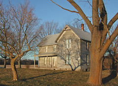 At Day's End (LivGreen07) Tags: historic farm house wood chimney brick tree walnut sunset grass sky centennial michigan