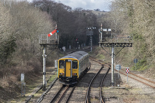 The traditional railway: semaphore signals at Park Junction, Newport, south Wales