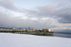 (amy20079) Tags: newengland maine pier oldorchardbeach oldorchardbeachpier offseason winter snow ocean sea nikond5100 clouds sky beach