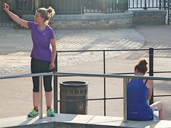 Resting Runners (Waterford_Man) Tags: rest runner fitness girl lycra mobile candid london people path