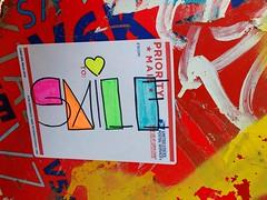 Happy Hump Day! (Georgie_grrl) Tags: smile sticker tagging postalbox graffiti colourful bright neon queenstreetwest toronto ontario