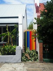 pencil fence! (AS500) Tags: newtown south pencil novelty giant fence rainbow