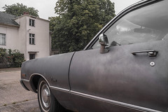 A colour like Lemmy Caution (Markus Lehr) Tags: gray americancar classiccar chrysler newport rainyday backyard tree street urbanspace berlin germany markuslehr nopeople peoplelessness