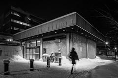 Parking Garage (WherezJeff) Tags: alberta canada edm edmonton night downtown urban ca d850 snow person blur concrete walking silent cold