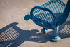 Rio Salado Park (Robert Borden) Tags: seat bench chair shadow pattern texture sunshine blue aqua faded fuji fujifilm fujixt2 fujifilmxt2 tempe phoenix arizona southwest usa northamerica color park parkbench riosaladopark