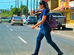 Crosswalk (thomasgorman1) Tags: crosswalk town downtown woman walking pedestrian canon colors colorized candid street streetphotos outdoors streetshots baja mx mexico cars traffic crossing