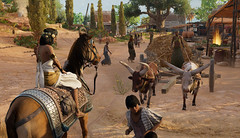 Heavy traffic in an ancient Egyptian village in Ubisoft's Assassin's Creed Origins Discovery Tour (mharrsch) Tags: egypt ancient prolemaicperiod village oxcart horse cleopatra assassinscreedorigins game videogame ubisoft mharrsch discoverytour