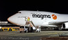 Magma B747 (Dougie Edmond) Tags: plane airplane night shot aircraft cargo airport canon egpk prestwick scotland unitedkingdom gb
