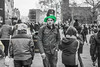 20180320_F0001: The St. Patrick's Day guy (wfxue) Tags: stpatricksday guinness hat cigarette festive street people candid portrait blackandwhite bw bnw monochrome green yellow selectivecolour selectivecolouring
