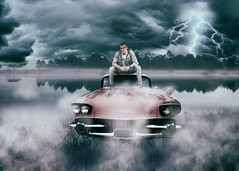 Swampcrashed (myphotomailbox) Tags: photoshop water car man fantasy swamp fog mist sky clouds lightning misty landscape magic artwork