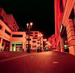 San Jose (bior) Tags: sanjose night longexposure lomochromepurple hasselblad500cm hasselblad mediumformat 120 alley downtownsanjose square