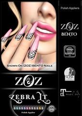 {ZOZ}  Zebra Lt Pix BENTO L (Zoz icon) Tags: zoz zozicon {zoz} applier mesh meshnails mani manicure pedi pedicure frenchtip french beach ocean starfish slocca original slink maitreya omega vista vistabento