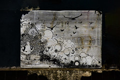 When Crows Fly (Steve Taylor (Photography)) Tags: crow bubbles art graffiti pasteup wheatup wheatpaste streetart black brown white grey eerie weird strange odd man texture sky cloud