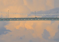 Bridge in  Clouds (Explore #266, March 25, 2018) ... (Irene, W. Van. BC) Tags: bridgeintheclouds bridge bridges lionsgatebridge sky skies blueskies allskies beautifulnature wonderfulnature clouds cloud colourful colourfulclouds patterns 1001nights 1001nightsmagiccity 1001nightsmagicwindow lamposts lamps cars bridgetraffic outdoors outdoorscenes skyscenes beautifulskies beautifulclouds bluehour sunset eveningskies bridgesupports explore