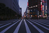 Crossing (OzGFK) Tags: 35mm asia fuji400hpro japan nagoya nikkor nikon analog city film travel urban zebracrossing streetphotography night neon nightlights buildings