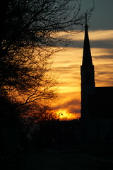 Yet, Another Beautiful SEK Sunset (tomcomjr) Tags: sonyilca77m2 sal55200 sunset church sky blue orange gold trees clouds silhouette ourladyoflourdeschurch spring pittsburgks
