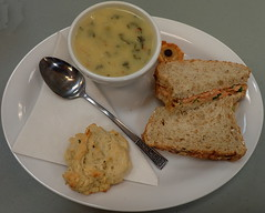 #4795 lunch: zuppa toscana, garlic biscuit, salamon sandwich, and mini caramel tart (Nemo's great uncle) Tags: lunch 昼食 food 食事 msac missionseniorsactivitycentre 10thave taulbutstmission britishcolumbia bc canada カナダ urwu8