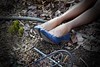 garden clean up (ladybugdiscovery) Tags: garden blue shoes legs stockings whimsy