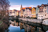 the city of the bank of river (anaidphotography) Tags: tübingen germany beautiful beauty reflection water river sun church house sky